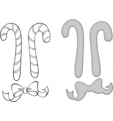 Stanzschablonen & Cling Stempel Set Christmas Candy Canes - Spellbinders