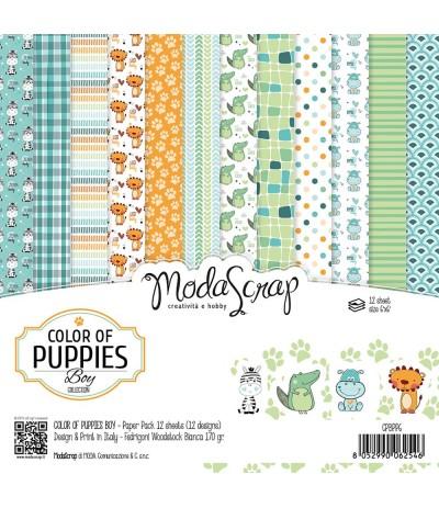 Scrapbooking Papier Color of Puppies, 15x15cm - Moda Scrap
