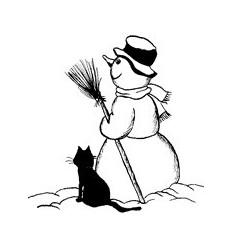 Schneemann mit Katze Holzstempel