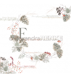 Scrapbooking Papier Silber Fir Cone Kranz von Alexandra Renke