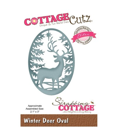 Stanzschablone Winter Deer Oval - Cottage Cutz