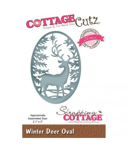 Stanzschablone Winter Deer Oval - Cottage Cutz