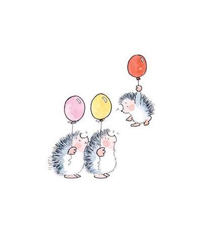 Drei Igel mit Ballon Stempel
