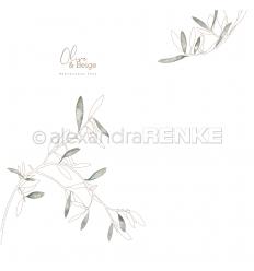 Scrapbooking Papier Olive & Beige Olivenäste - Alexandra Renke