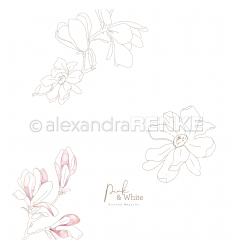 Scrapbooking Papier Pink & White Magnolie - Alexandra Renke