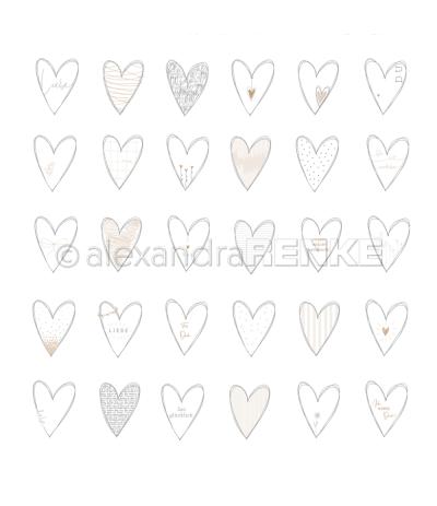 Scrapbooking Papier Herzen Liebe - Alexandra Renke