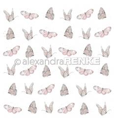 Scrapbooking Papier Schmetterling Rose - Alexandra Renke