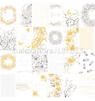 Scrapbooking Papier Kärtchenbogen traumhaft in gelb und grau - Alexandra Renke