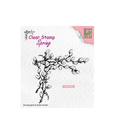 Clear Stamp Corner with willow catkins - Nellie's Choice
