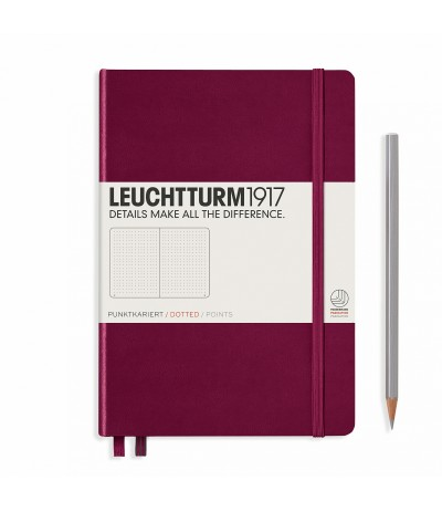 Notizbuch Medium (A5), Hardcover, Port Red, Dotted - Leuchtturm1917