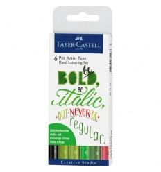 Tuschestift Pitt Artist Pen Handlettering 6er Etui Grüntöne - Faber Castell