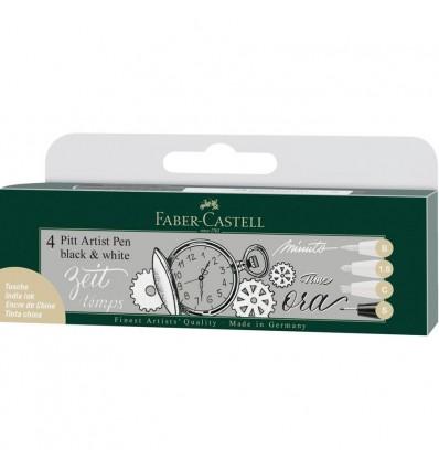 Faber-Castell Tuschestift PITT Artist Pen 4er Etui Schwarz /& Weiß
