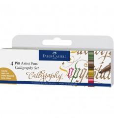 Tuschestift Pitt Artist Pen Calligraphy 4er Etui, Farben - Faber Castell