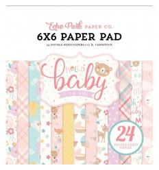 Scrapbooking Papier Hello Baby Girl, 15x15cm - Echo Park