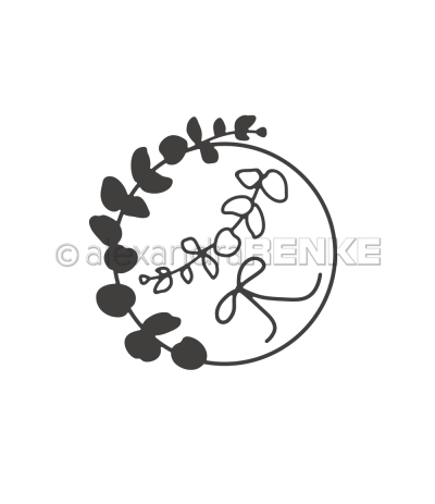 Stanzschablone Eukalyptus-Kranz mit Schleife - Alexandra Renke