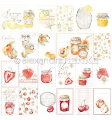 Scrapbooking Papier Kärtchenbogen Rot/Orange Marmelade - Alexandra Renke