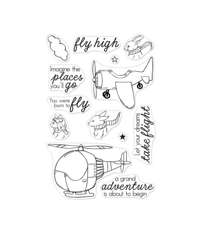 Clear Stamps Fly High Animals - Hero Arts