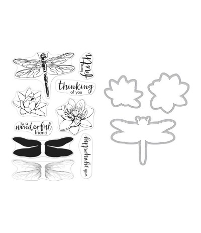 Color Layering Clear Stamps & Stanzschablonen Dragonfly - Hero Arts