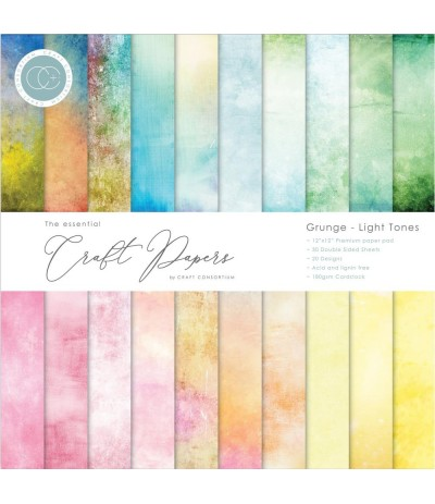 "Scrapbooking Papier Grunge- Light Tones12"" x 12"" - Craft Consortium"