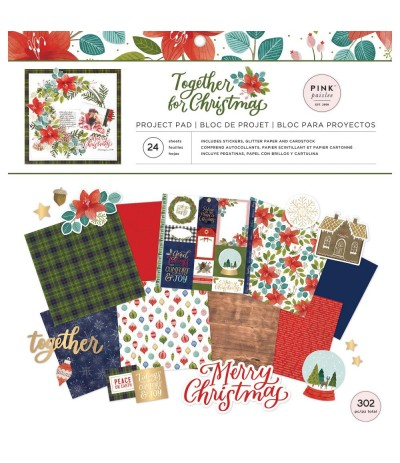 Scrapbooking Papier Together for Christmas, Project Pad, 12x12 - Pink Paislee