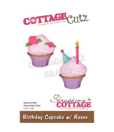 Stanzschablone Birthday Cupcake with Roses - Cottage Cutz