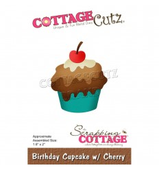 Stanzschablone Birthday Cupcake with Cherry - Cottage Cutz