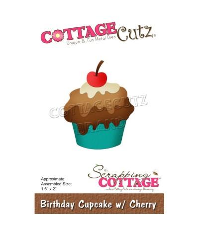 Stanzschablone Birthday Cupcake with Cherry - Cottage Cutz