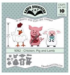 Stanzschablone Chicken, Pig and Lamb - Karen Burniston