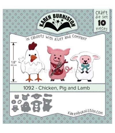 Stanzschablone Chicken, Pig and Lamb - Karen Burniston ***