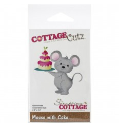 Stanzschablone Mouse with Cake - Cottage Cutz