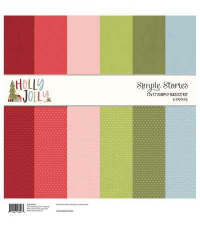 """Scrapbooking Papier Holly Jolly, 12"""" x 12"""" - Simple Stories"""
