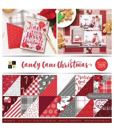 "Scrapbooking Papier Candy Cane Christmas, 12"" x 12"" - DCWV ***"