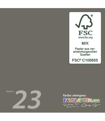 Doppelkarten in steingrau 15.0 x 15.0 cm, 25 Stk. - FK