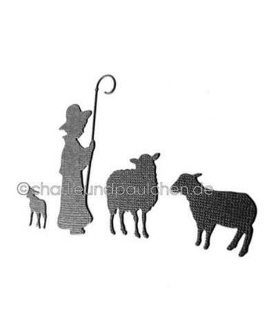 Stanzschablone Hirte mit Schafen - Charlie und Paulchen