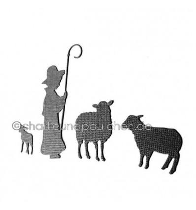 Stanzschablone Hirte mit Schafen - Charlie & Paulchen