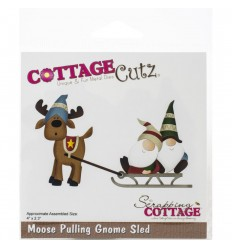 Stanzschablone Moose Pulling Gnome Sled - Cottage Cutz