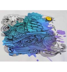 Flexfolie Watercolor Blue, A4 - Plottermarie