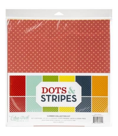 "Scrapbooking Papier Dots & Stripes Summer, 12"" - Echo Park"