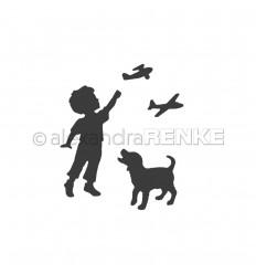 Stanzschablone Kind mit Hund & Fliegern - Alexandra Renke