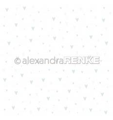 Scrapbooking Papier Baby blau Herzen - Alexandra Renke