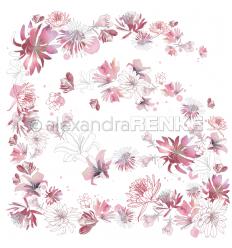 Scrapbooking Papier Musik Blütenzauber Berry - Alexandra Renke