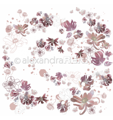 Scrapbooking Papier Musik Blütenzauber Pflaume - Alexandra Renke