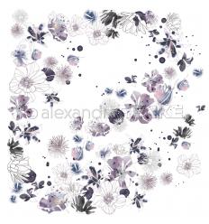 Scrapbooking Papier Musik Blütenzauber Dunkelviolette - Alexandra Renke
