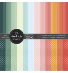 "Scrapbooking Papier Cottage Stripes and Dots, 6""x6"" - Memory Box"
