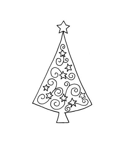 Swirl-Tanne mit Sternen Holzstempel