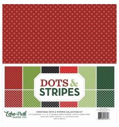 """Scrapbooking Papier Christmas Dosts & Stripes, 12"""" x12"""" - Echo Park"""