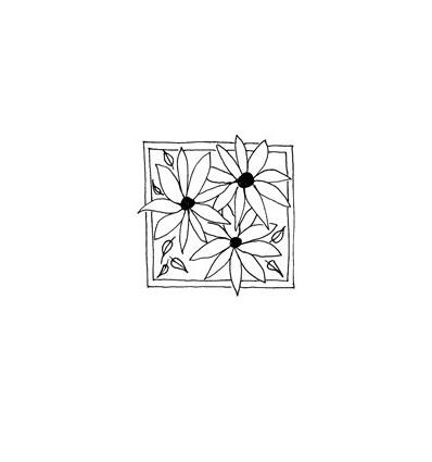 3 Blumen in Rahmen Stempel
