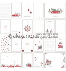 Scrapbooking Papier Florale Weihnachten Kärtchenbogen rote Autos - Alexandra Renke
