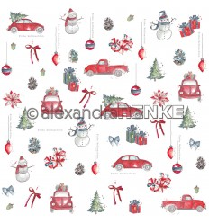 Scrapbooking Papier Florale Weihnachten Auto Rapport - Alexandra Renke