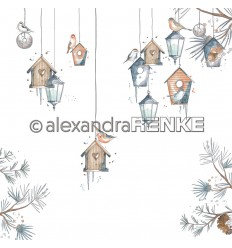 Scrapbooking Papier Florale Weihnachten winterliche Vogelhäuser blau - Alexandra Renke